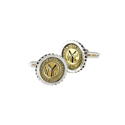NYC Authentic Subway Token Sterling Silver Small Cufflink - Cynthia Gale New York - 1