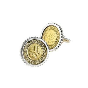 NYC Authentic Subway Token Sterling Silver Large Cufflink - Cynthia Gale New York - 1