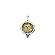 February NYC Authentic Subway Token Amethyst Sterling Silver Charm Necklace - Cynthia Gale New York - 1
