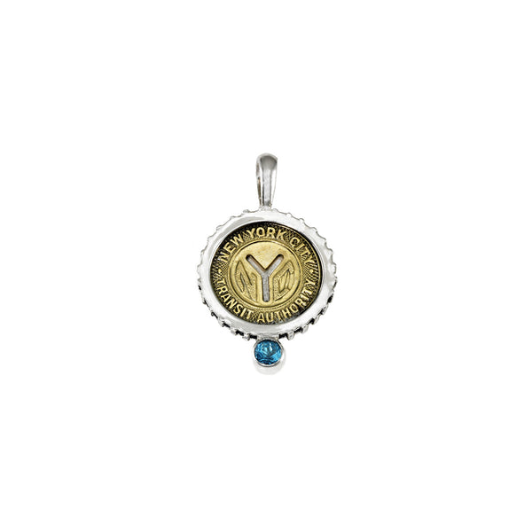 March NYC Authentic Subway Token Blue Topaz Sterling Silver Charm Necklace - Cynthia Gale New York - 1