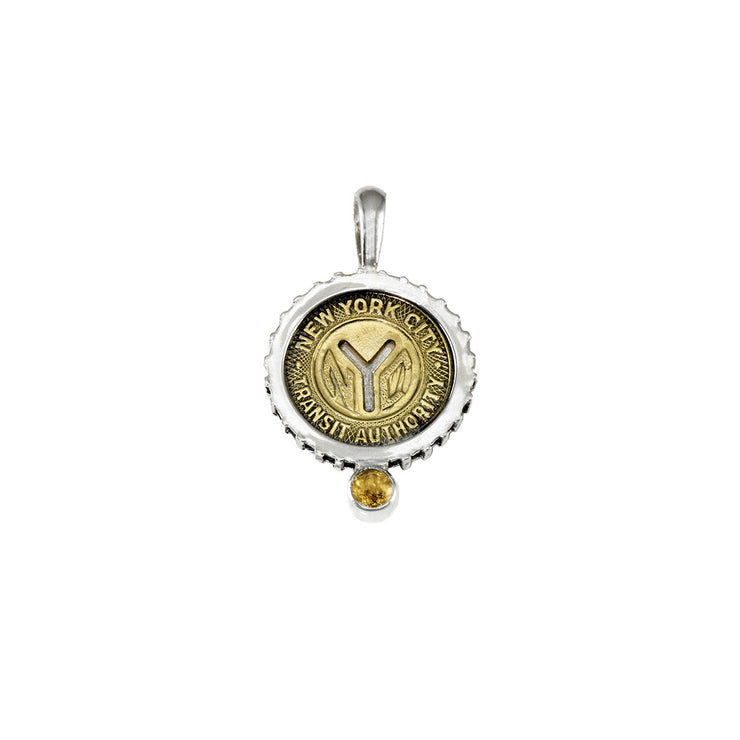 November NYC Authentic Subway Token Citrine Sterling Silver Charm Necklace - Cynthia Gale New York - 1