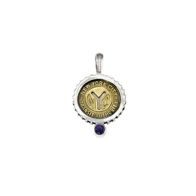 September NYC Authentic Subway Token Iolite Sterling Silver Charm Necklace - Cynthia Gale New York - 1