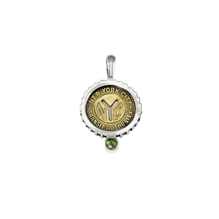 August NYC Authentic Subway Token Peridot Sterling Silver Charm Necklace - Cynthia Gale New York - 1