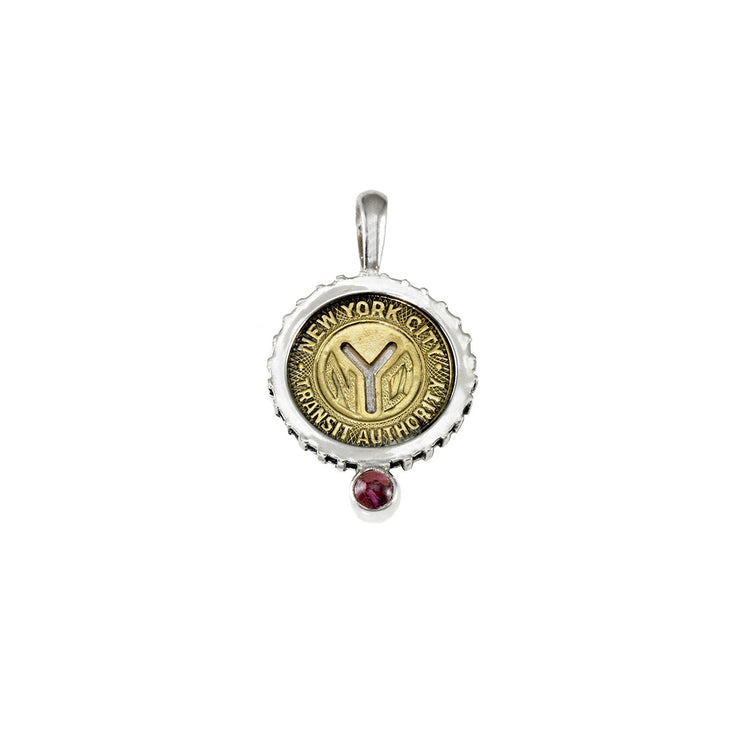 October NYC Authentic Subway Token Pink Tourmaline Sterling Silver Charm Necklace - Cynthia Gale New York - 1