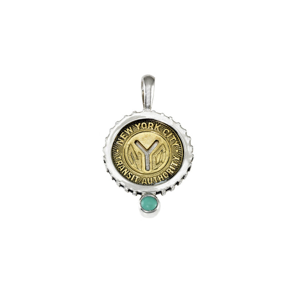 December NYC Authentic Subway Token Turquoise Sterling Silver Charm Necklace - Cynthia Gale New York - 1