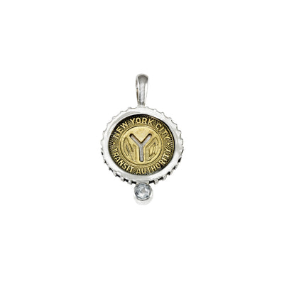 April NYC Authentic Subway Token White Topaz Sterling Silver Charm Necklace - Cynthia Gale New York - 1
