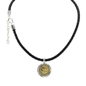 NYC Authentic Token Urban Sterling Silver & Leather Necklace - Cynthia Gale New York - 2
