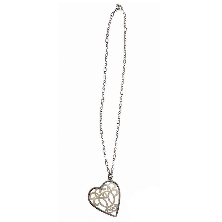 Love Letters Open Heart Sterling Silver Mother Of Pearl Necklace - Cynthia Gale New York - 1