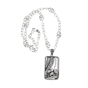 Belle Nouveau Rectangle Sterling Silver Necklace - Cynthia Gale New York Jewelry