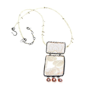 ORIENT FLEUR WATER LILY STERLING SILVER  PEARL NECKLACE - Cynthia Gale New York Jewelry