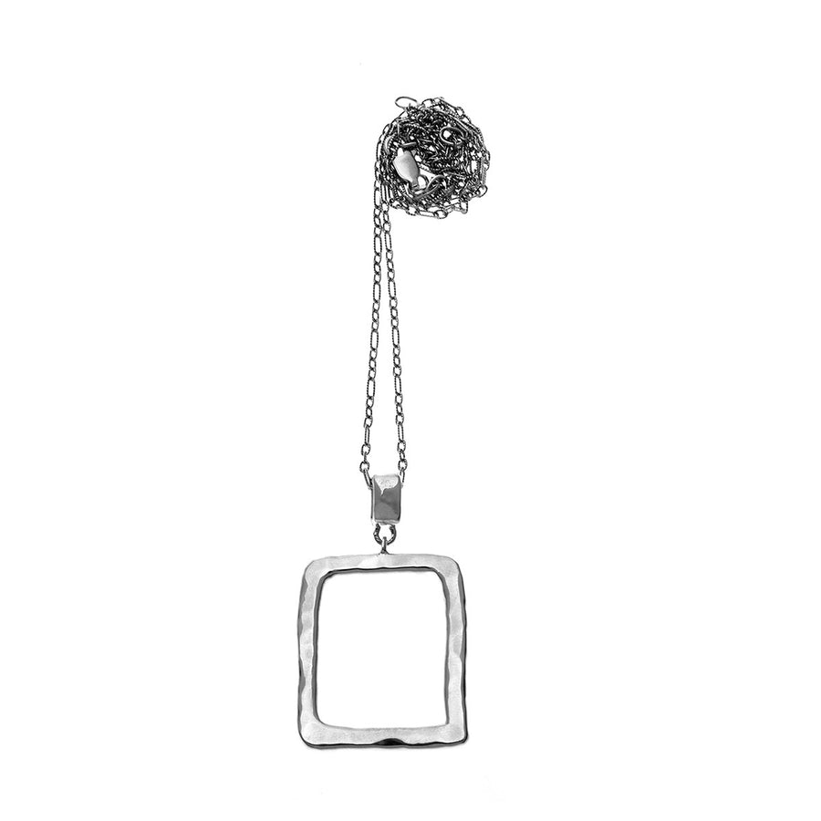 Mystical Pagoda Open Cube Sterling Silver Necklace - Cynthia Gale New York Jewelry