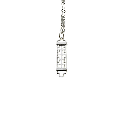 Mystical Pagoda Rectangle Sterling Silver Necklace - Cynthia Gale New York Jewelry