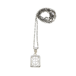 Mystical Pagoda Square Sterling Silver Necklace - Cynthia Gale New York Jewelry