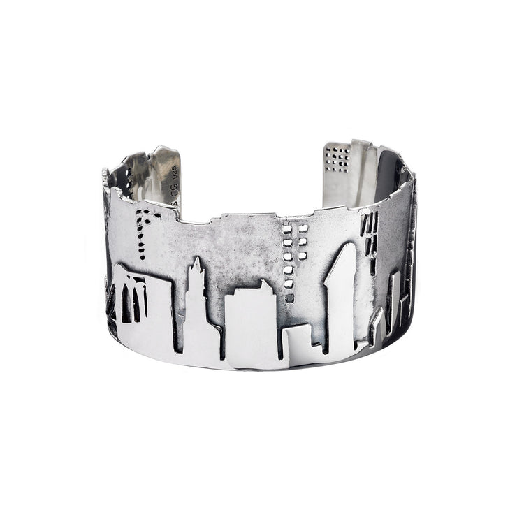 NYC Skyline The City That Never Sleeps Sterling Silver Bracelet Cuff - Cynthia Gale New York - 2