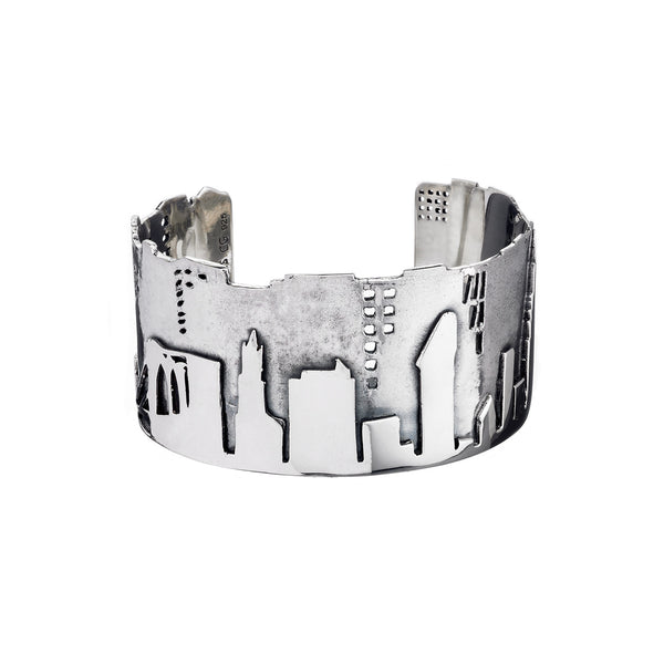 NYC Skyline The City That Never Sleeps Sterling Silver Bracelet Cuff - Cynthia Gale New York - 1