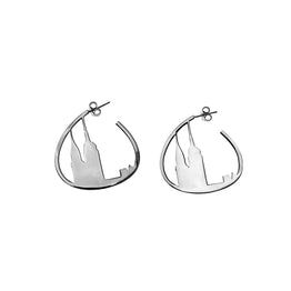New York City Sterling Silver Skyline Hoop Earring - Cynthia Gale New York Jewelry