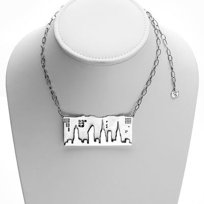 NYC Skyline The City That Never Sleeps Sterling Silver Necklace - Cynthia Gale New York - 1