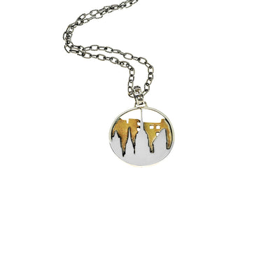 New York City Skyline Sterling Silver & Brass Pendant Necklace - Cynthia Gale New York - 1