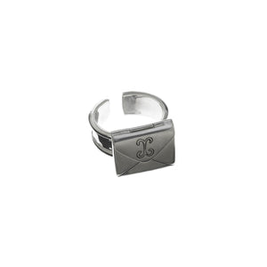Love Letters Petite Sterling Silver Envelope Ring - Cynthia Gale New York Jewelry