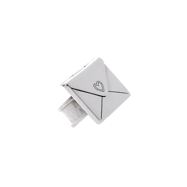 Love Letters Grande Sterling Silver Envelope Ring - Cynthia Gale New York Jewelry