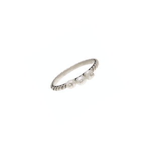 Love Letters Beauty Sterling Silver Pearl Stack Ring - Cynthia Gale New York Jewelry