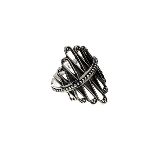 Cool Weave Embroidered Sterling Silver Spin Ring - Cynthia Gale New York Jewelry