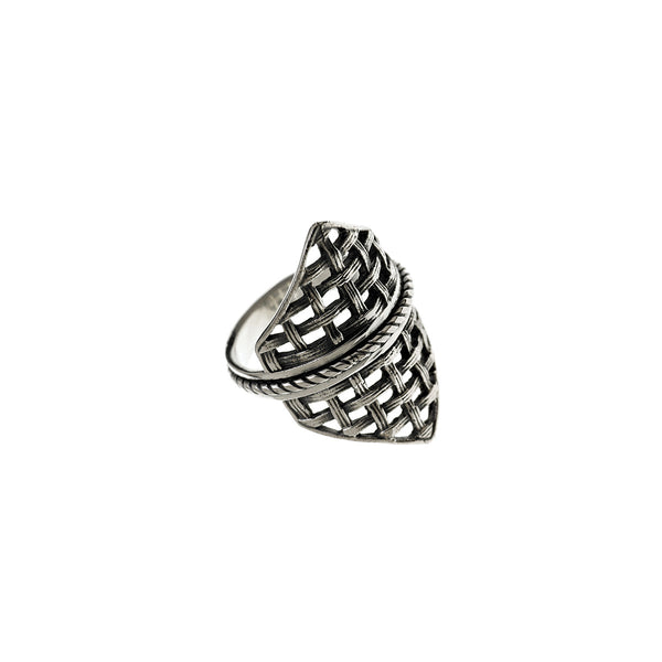 Cool Mesh Embroidered Sterling Silver Spin Ring - Cynthia Gale New York Jewelry