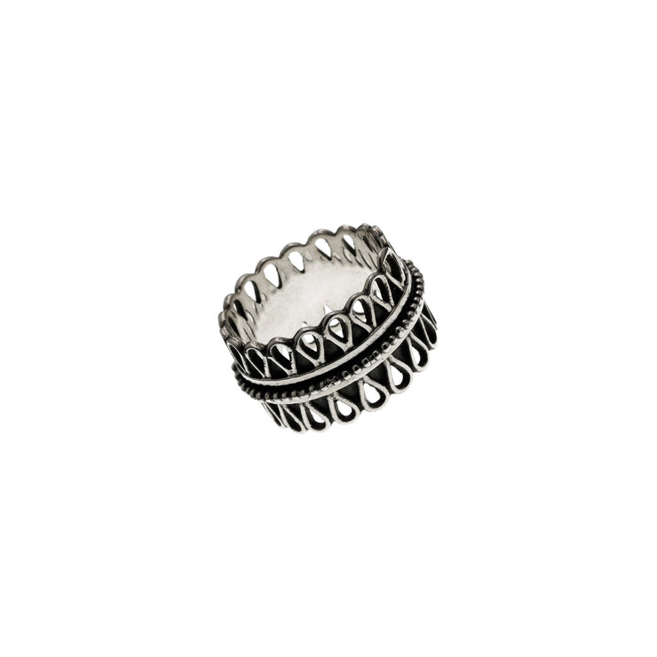 Cold Lock Embroidered Sterling Silver Spin Ring - Cynthia Gale New York - 1