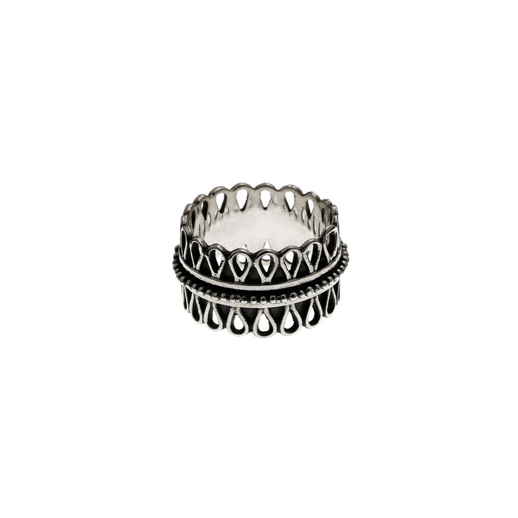 Cold Lock Embroidered Sterling Silver Spin Ring - Cynthia Gale New York - 2