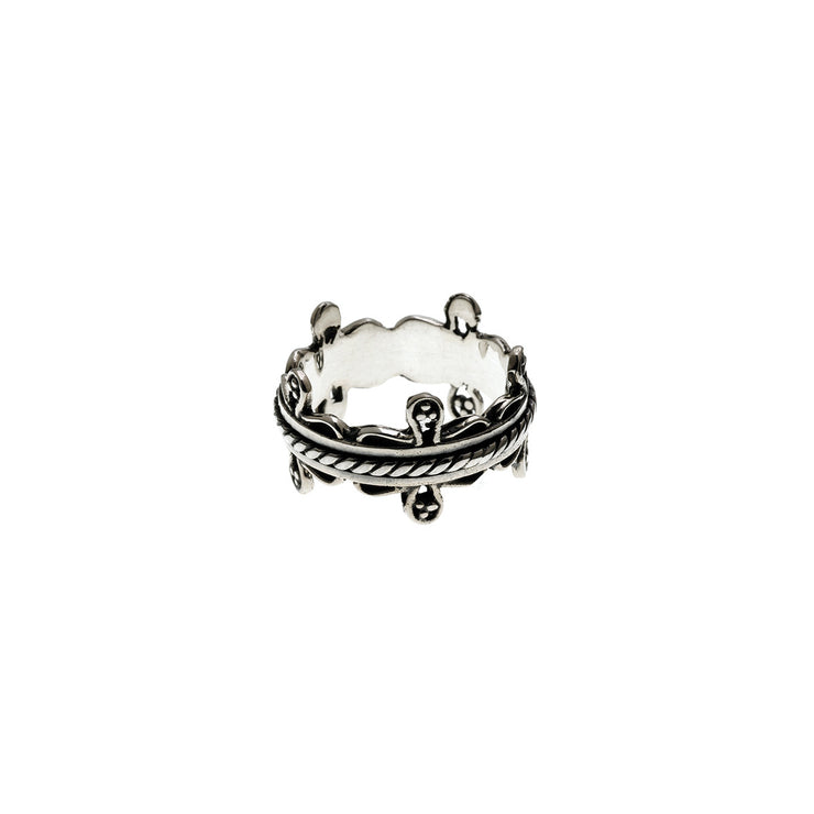 Bobbin Embroidered Sterling Silver Spin Ring - Cynthia Gale New York Jewelry
