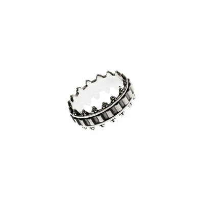 Dobby Embroidered Sterling Silver Spin Ring - Cynthia Gale New York Jewelry