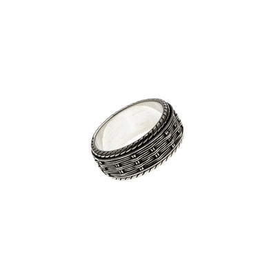 Herring Bone Embroidered Sterling Silver Spin Ring - Cynthia Gale New York Jewelry