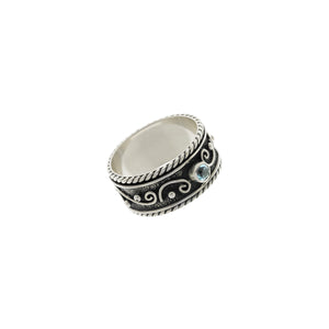 Ethos Sterling Silver And Blue Topaz Spin Ring - Cynthia Gale New York Jewelry