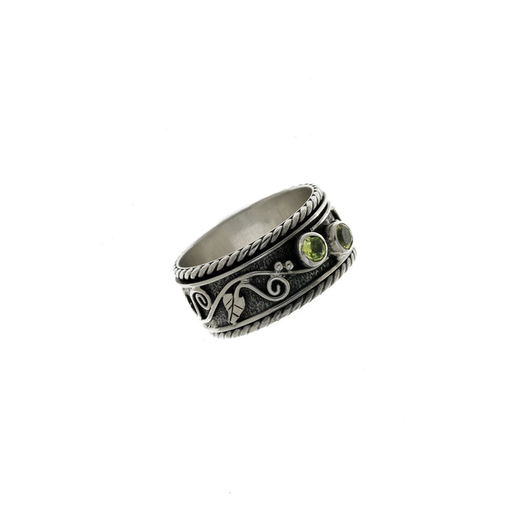 Ethos Sterling Silver And Peridot Spin Ring - Cynthia Gale New York Jewelry
