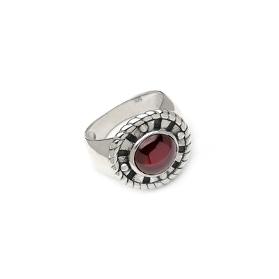 Ceremonial Kamon Sterling Silver Garnet Signet Ring - Cynthia Gale New York Jewelry