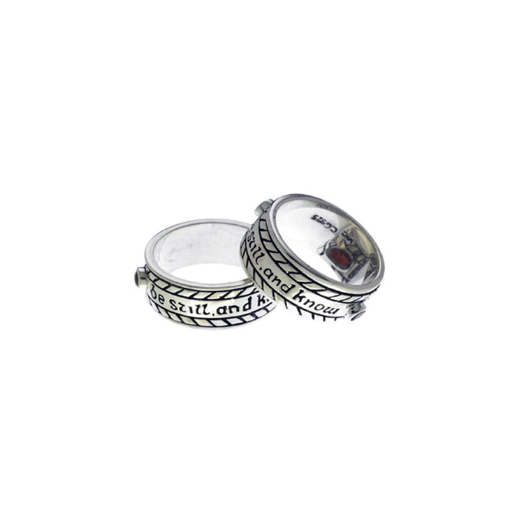 Be Still And Know Sterling Silver Spin Ring - Cynthia Gale New York Jewelry