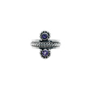 Moon Reflection Sterling Silver Amethyst Spin Ring - Cynthia Gale New York Jewelry
