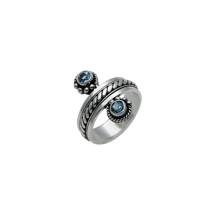 Water Reflection Sterling Silver And Blue Topaz Spin Ring - Cynthia Gale New York Jewelry