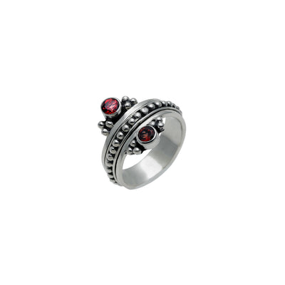 Metal Reflection Sterling Silver Garnet Spin Ring - Cynthia Gale New York Jewelry