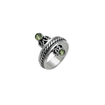 Mirror Reflection Sterling Silver Peridot Spin Ring - Cynthia Gale New York Jewelry