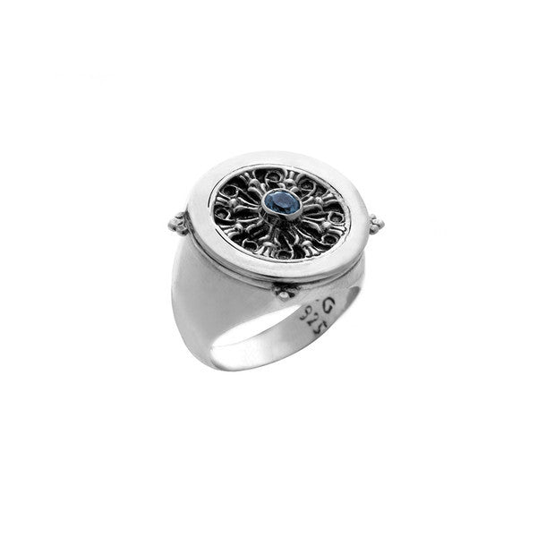 Dharmachakra Sterling Silver & Blue Topaz Noble Truth Ring - Cynthia Gale New York - 1