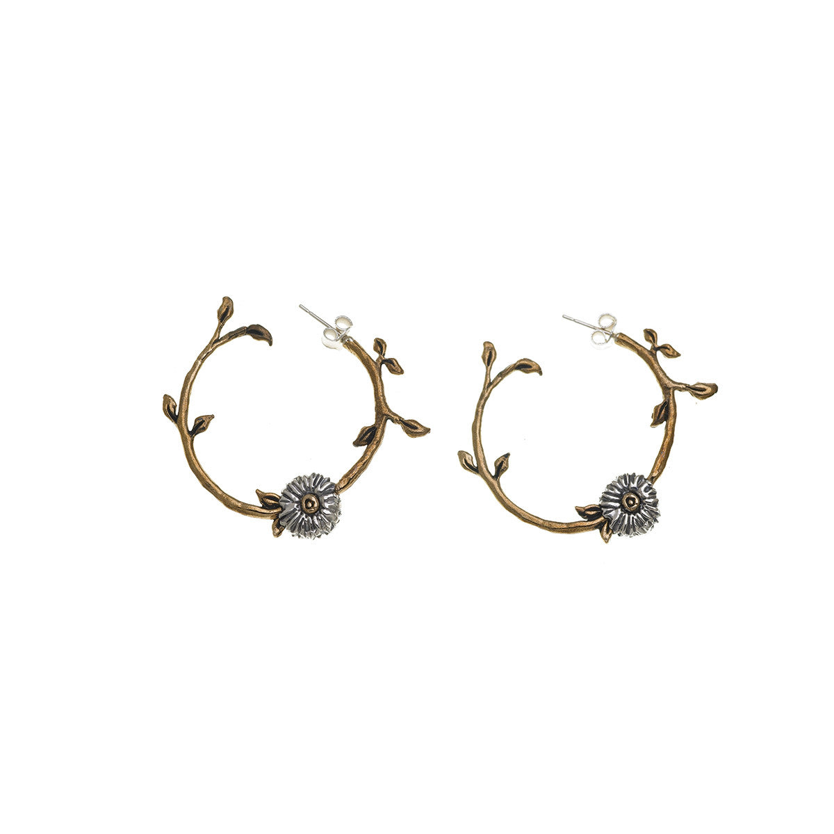 Revolution Dove Sterling Silver Bronze Hoop Earring - Cynthia Gale New York Jewelry