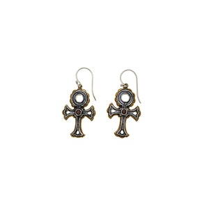 Punk Explosion Sterling Silver Bronze Garnet Drop Earring - Cynthia Gale New York Jewelry