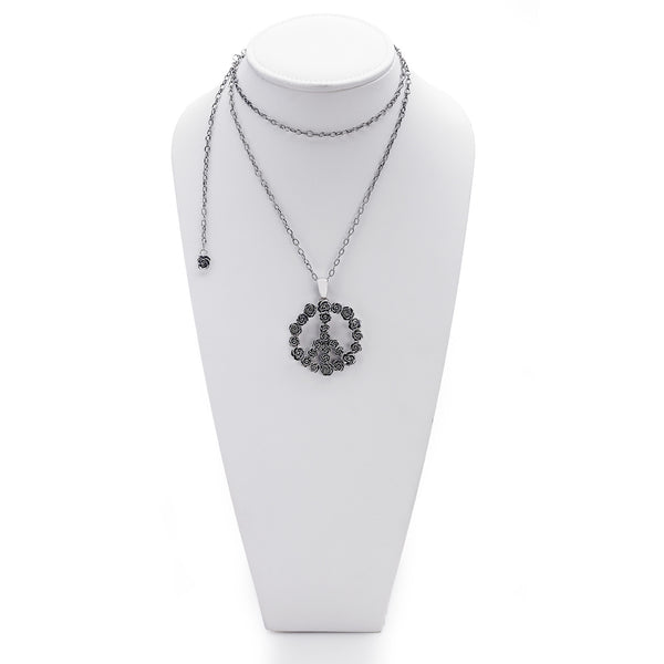 Imagine Peace Rose Sterling Silver Necklace - Cynthia Gale New York Jewelry