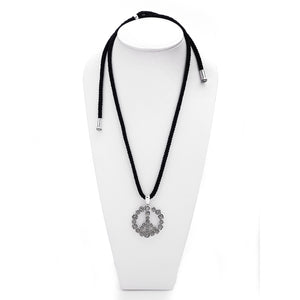 Imagine Peace Rose Sterling Silver Black Cord Necklace - Cynthia Gale New York Jewelry