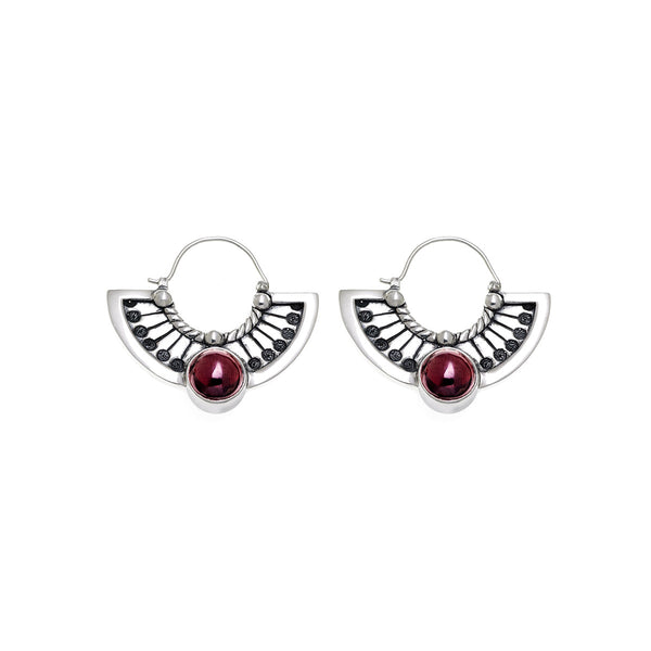 Kamon Sterling Silver And Garnet Fan Drop Earring - Cynthia Gale New York Jewelry