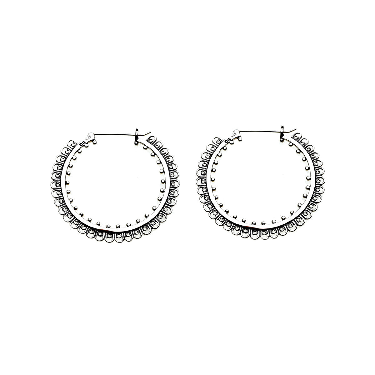 Dharmachakra Grand Sterling Silver Hoop Earring  Cynthia Gale New York  Jewelry