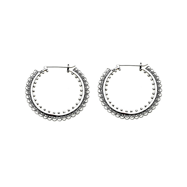 Dharmachakra Grand Sterling Silver Hoop Earring - Cynthia Gale New York Jewelry