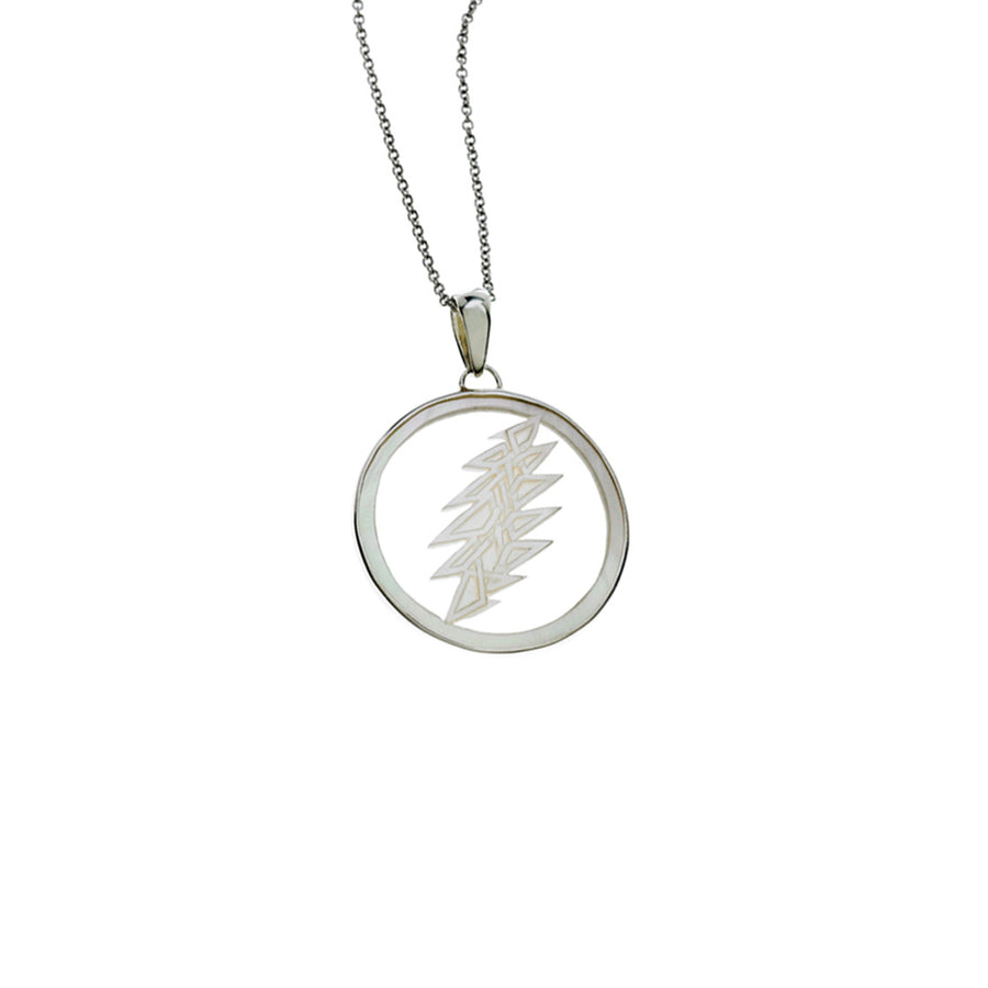 13 Point Lightning Bolt Sterling Silver Mother Of Pearl Necklace