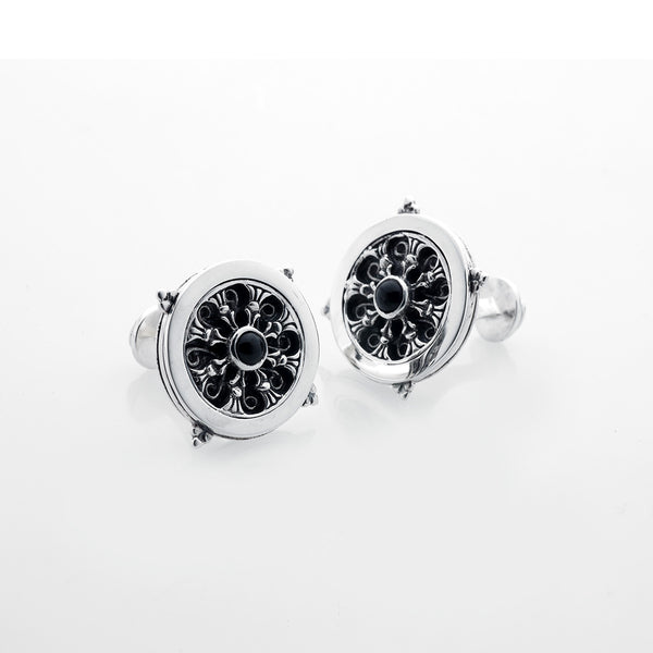 Dharmachakra Noble Truth Turn Sterling Silver Cufflinks - Cynthia Gale New York Jewelry